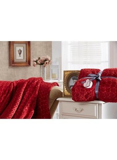 Dolce Bonita Home Çift Kişilik Embos Vizon Battaniye Kalp Kırmızı Kırmızı